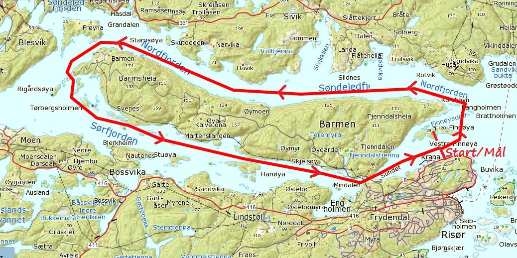 kart over risør Risør Ro og Padleklubb | KART BARMEN RUNDT kart over risør